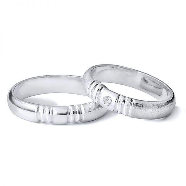 Snubní prsteny půlkulatý šířka 3,00 mm s kamínkem