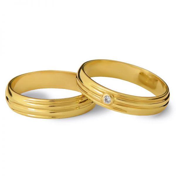 Snubní prsteny půlkulaté s kamínkem šířka 3,50 mm