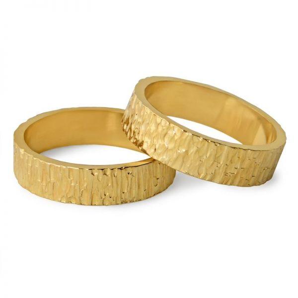 Prsteny zlatý ručně tepaný šířka 5,00 mm