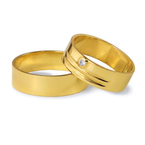 Snubní prsteny s jemnými drážky a kamínkem šířka 6,00 mm