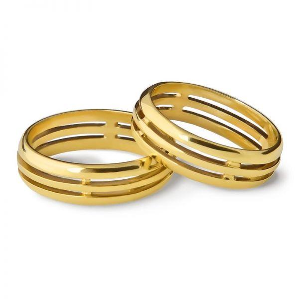 Snubní prsteny prořezávané půlkulaté šířka 5,00 mm