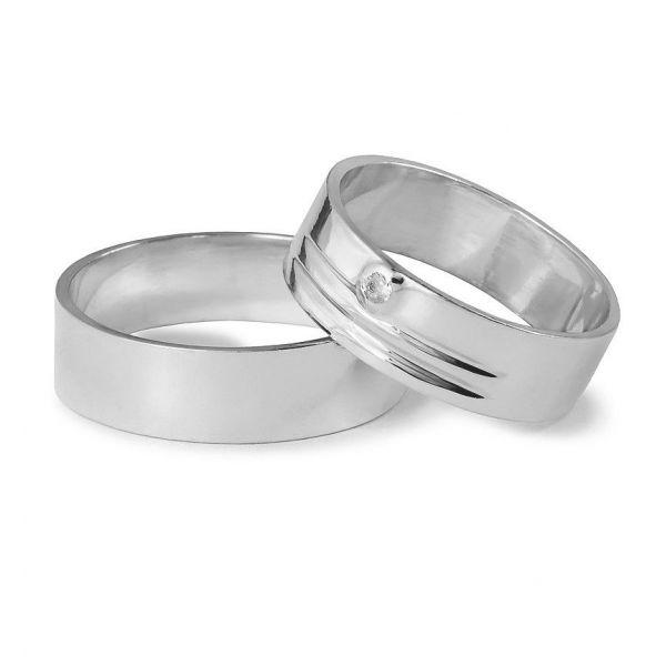 Snubní prsteny s drážkami a kamenem šířka 6,00 mm