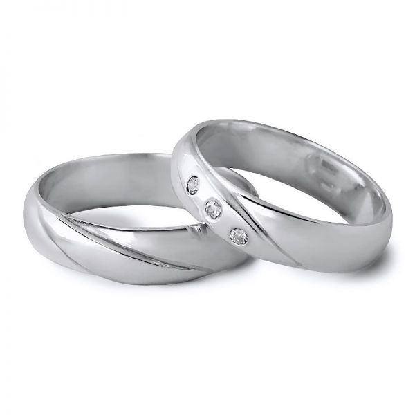 Snubní prsteny půlkulatá s kameny  šířka 5,00 mm