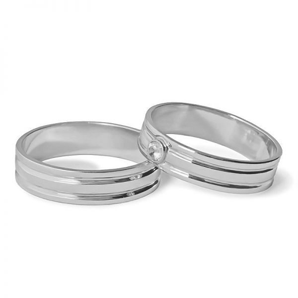 Snubní prsteny s kamenem šířka 5,00 mm