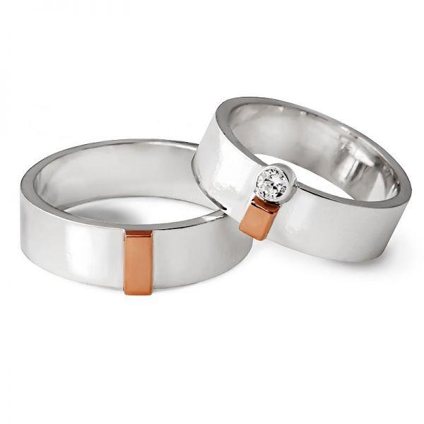 Elegantní snubní prsteny z kombinovaného zlata šířka 6,00 mm