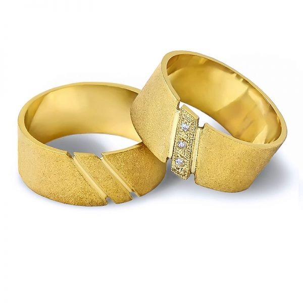Snubní prsteny s kameny - šířka 9,0mm