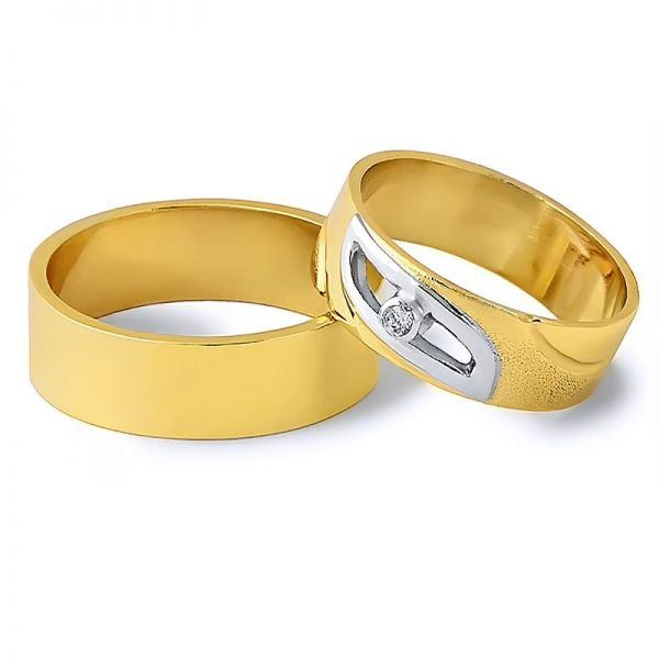 Snubní prsteny z kombinovaného zlata šířka 6,00 mm