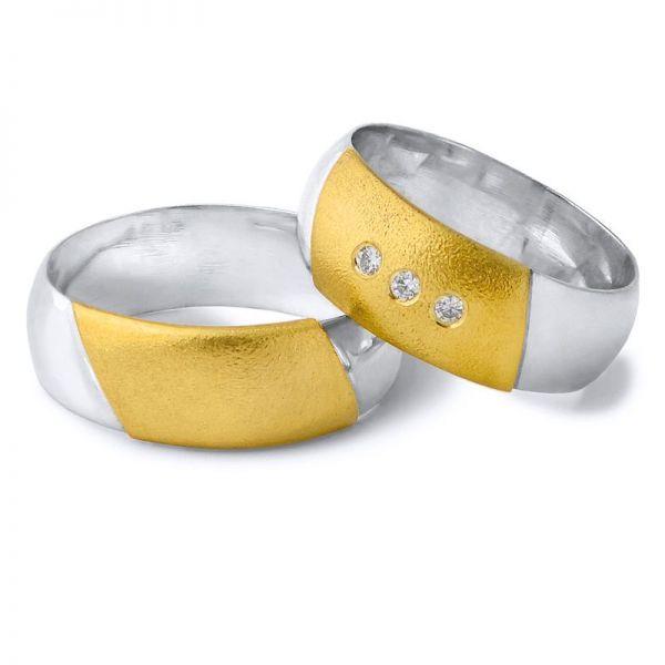 Snubní prsteny kombinované zlata šířka 8mm