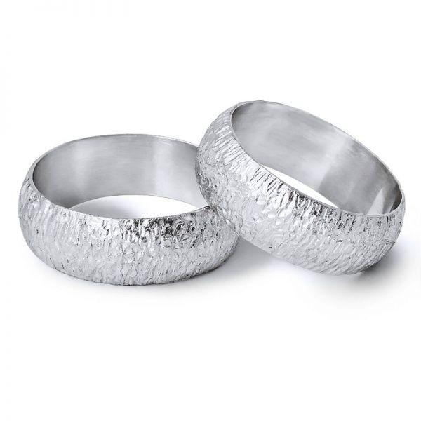 Snubní prsteny půlkulaté ručně tepané šířka 7,00 mm