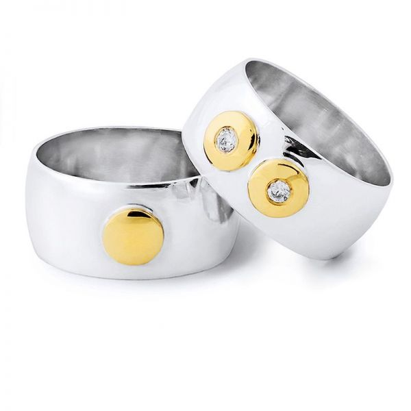 Snubní prsteny půlkulaté kombinované šířka 9,00 mm