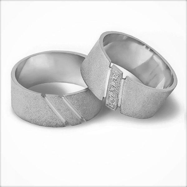 Moderní snubní prsteny s kamínky šířka 9,00 mm