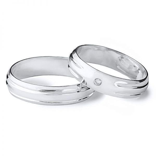 Moderní snubní prsteny s kamínky a drážkami šířka 5,00 mm